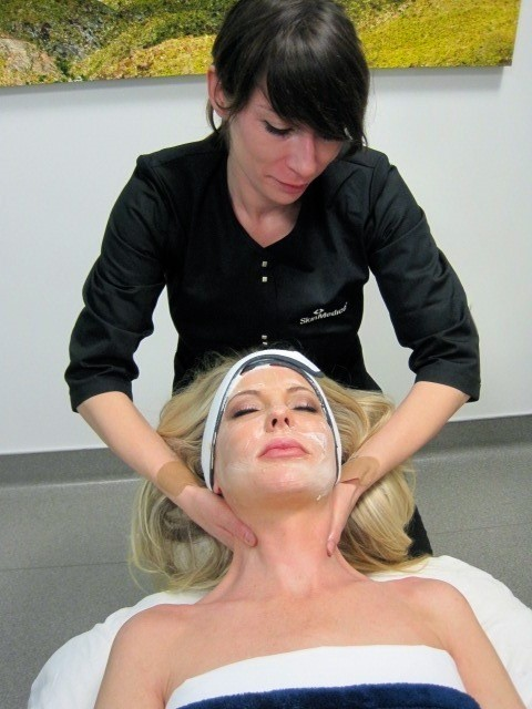 Contour Dermatology Esthetician Anne Marie Johnson includes facial massage as part of a facial treatment