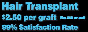 Hair Transplants $2.50 per graft