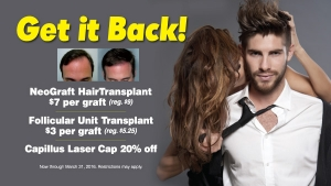 Get your hair back with Contour Dermatology's March 2016 hair restoration specials!