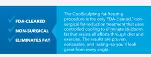 The CoolSculpting fat-freezing procedure is the only FDA-cleared, non surgical fat reduction treatment. Proven results!